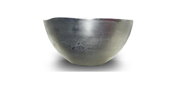 mat zilverkleurige aluminium schaal uitgelicht label25
