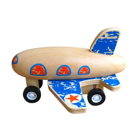 houten vliegtuigje blauw Label25