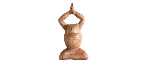 houten mediterende kikker Label25