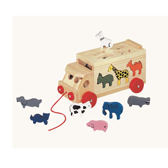 houten vrachtauto met dieren Label25