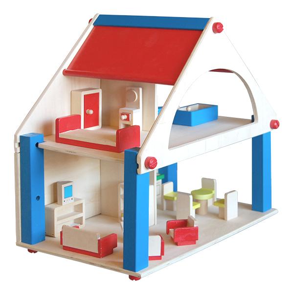 Houten poppenhuis met houten meubels - Houten meubels ...