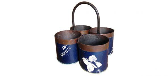 plantenbak van scrap metaal blauw - Label25