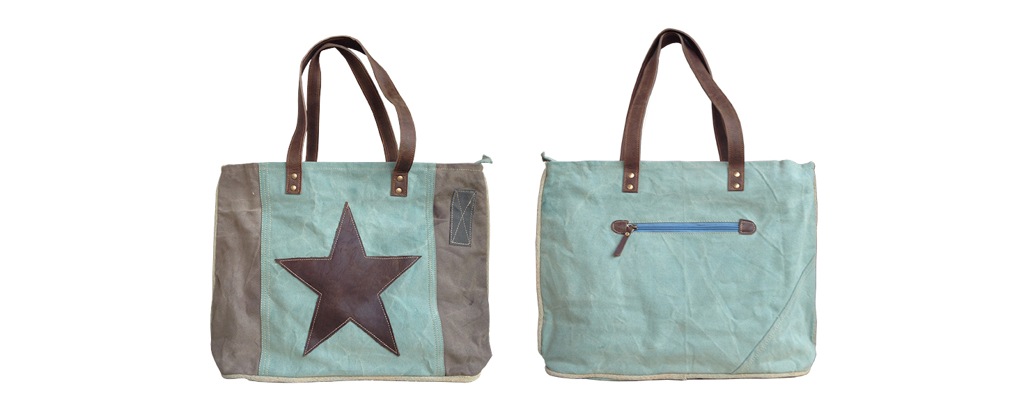 Canvas shopper tas mintgroen met ster - Label25