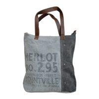 canvas shopper tas merlot lichtgrijs Label25