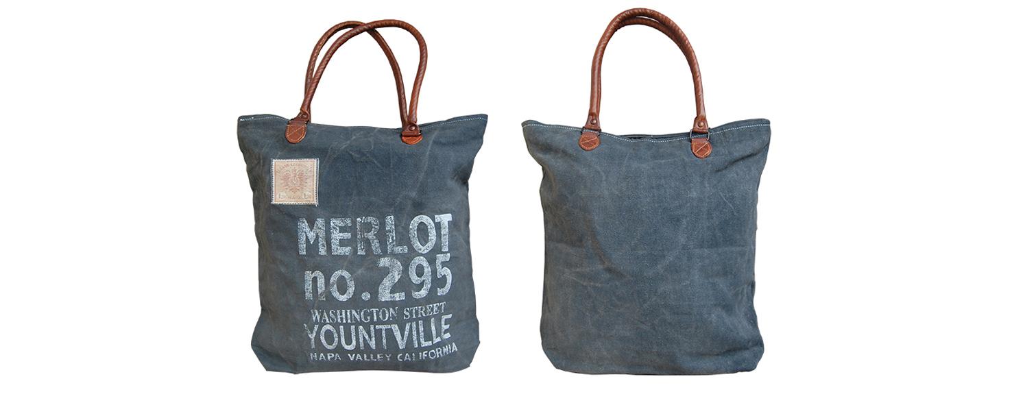 canvas shopper tas merlot donkergrijs Label25