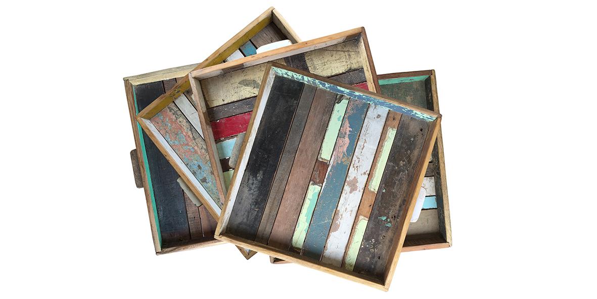 vierkante sloophouten dienbladen Label25