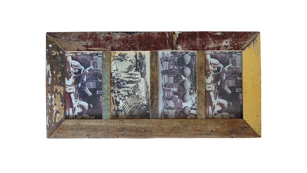 sloophouten fotolijst met 4 vakken Label25