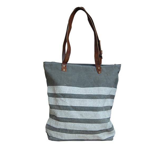 grijze canvas shopper tas sterren en strepen Label25