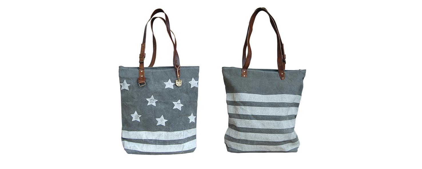 grijze canvas shopper tas sterren en strepen Label25